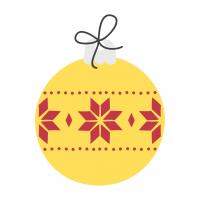 Christmas Bulb Yellow-Red